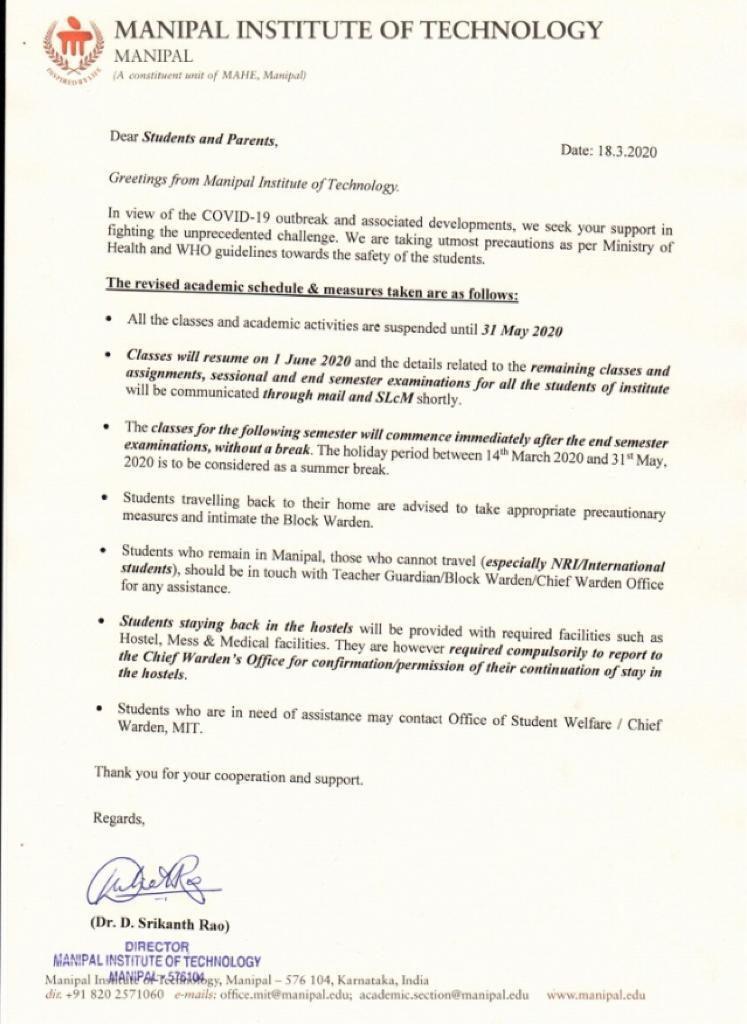 Academic Activities Suspended